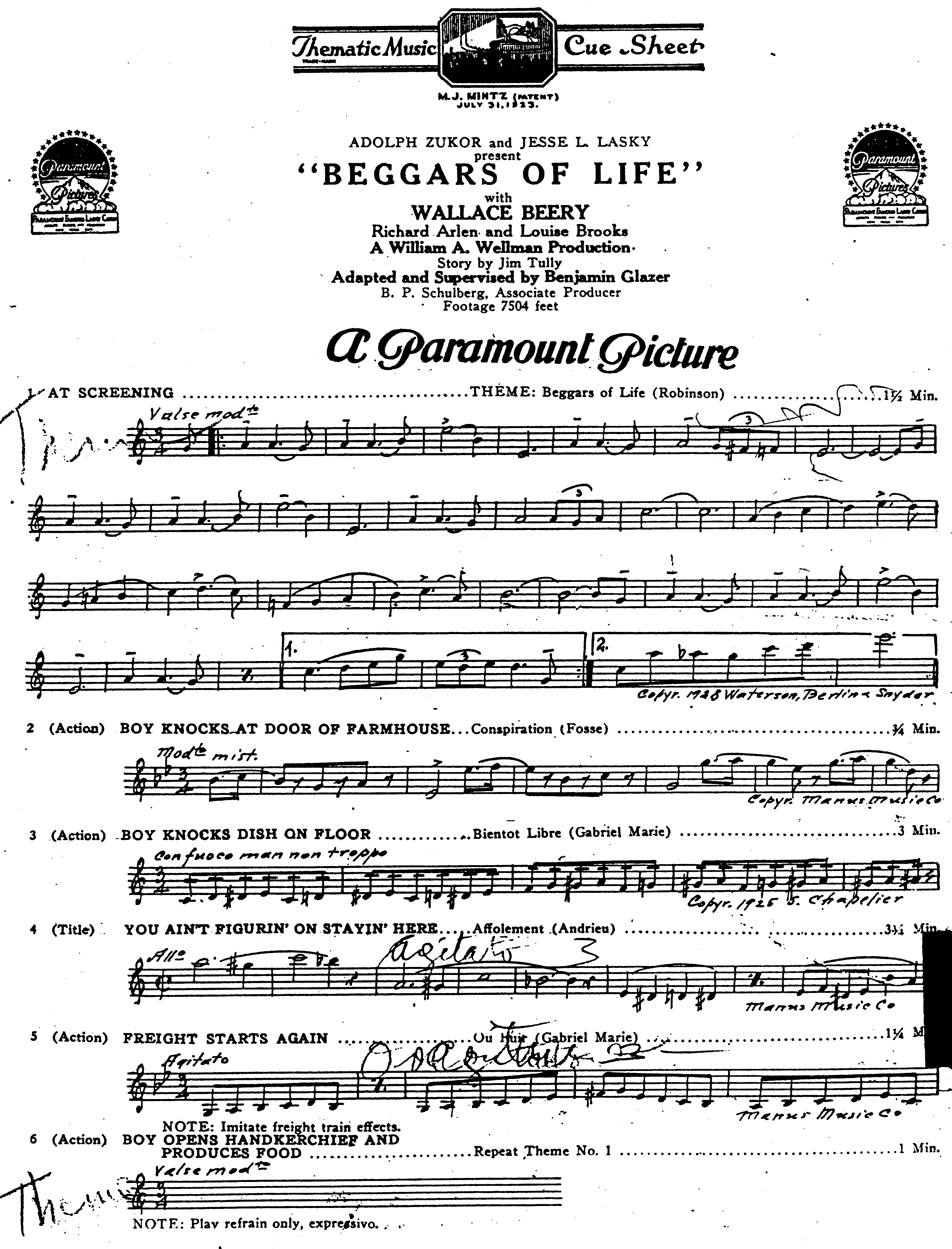 Beggars of Life Cue Sheet